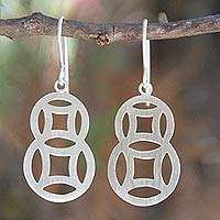 Sterling silver dangle earrings, 'Circle Family' - Artisan Crafted Modern Sterling Silver Dangle Earrings