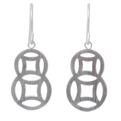 Sterling silver dangle earrings, 'Circle Family' - Artisan Crafted Modern Sterling Silver Dangle Earrings