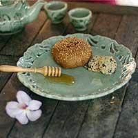 Celadon ceramic plate, 'Parade' - Celadon ceramic plate