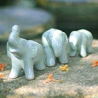 Celadon ceramic figurines, 'Elephant Family' (set of 3)
