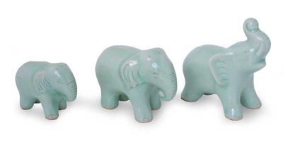 Celadon ceramic figurines, 'Elephant Family' (set of 3) - Artisan Crafted Celadon Ceramic Sculptures (Set of 3)