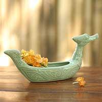 Celadon ceramic vase, 'Thai Swan' - Celadon ceramic vase
