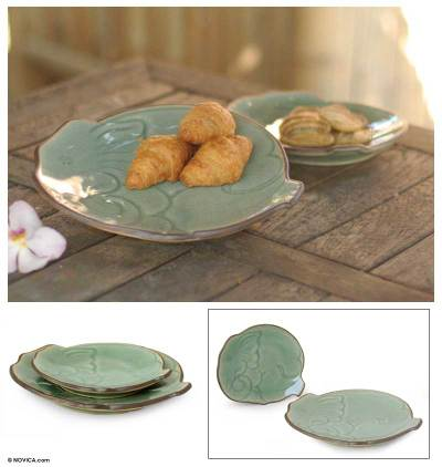 Celadon ceramic plates, Blue Elephant (pair)