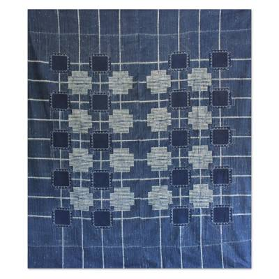 Cotton bedspread, 'Indigo Cross' (twin) - Handcrafted Cotton Bedspread (Twin)