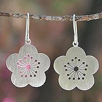 Sterling silver flower earrings, 'Plum Blossom Spring'