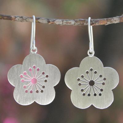 Sterling silver flower earrings, 'Plum Blossom Spring' - Sterling Silver Flower Earrings