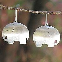 Sterling silver dangle earrings, 'Pretty Elephant' - Unique Sterling Silver Dangle Earrings