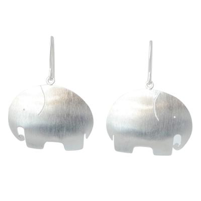 Sterling silver dangle earrings, 'Pretty Elephant' - Unique Sterling Silver Dangle Earrings