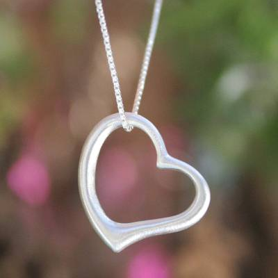 Sterling silver pendant necklace, 'Living Love' - Fair Trade Heart Shaped Sterling Silver Pendant Necklace