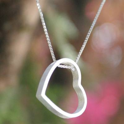 Sterling silver pendant necklace, 'Modern Heart' - Fair Trade Sterling Silver Pendant Necklace