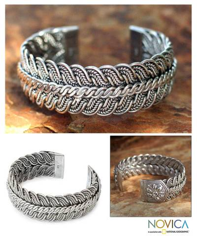 Silver cuff bracelet, 'Ebb and Flow' - Silver cuff bracelet
