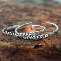 Sterling silver cuff bracelets, 'Unison' (pair) - Sterling silver cuff bracelets (Pair)