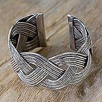 Sterling silver cuff bracelet, 'Lanna Magnificence'