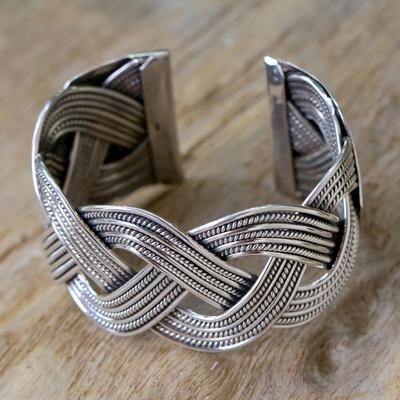 Sterling silver cuff bracelet, 'Lanna Magnificence' - Sterling silver cuff bracelet
