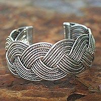 Sterling silver cuff bracelet, 'Rolling Waves' - Sterling silver cuff bracelet