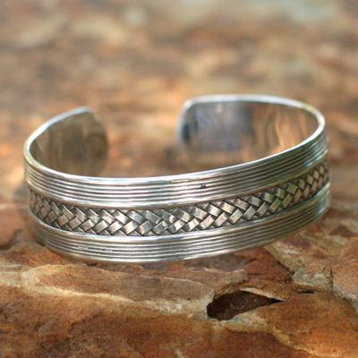 Sterling silver cuff bracelet, 'Wisdoms' - Handmade Sterling Silver Cuff Bracelet