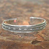 Sterling silver cuff bracelet, 'Bamboo Illusions'