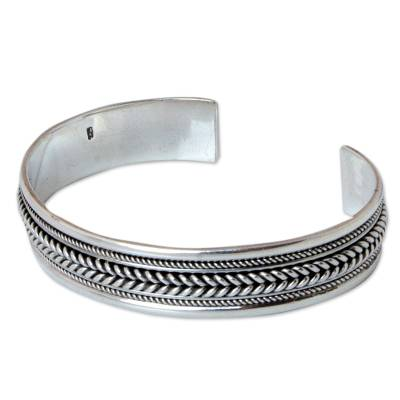 Sterling silver cuff bracelet, 'Lanna Illusions' - Sterling Silver Cuff Bracelet
