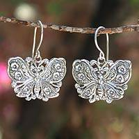 Sterling silver dangle earrings, 'Spring Butterfly' - Sterling Silver Dangle Earrings