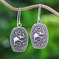 Sterling silver flower earrings, 'Elephant Roses'