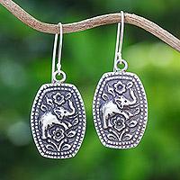 Sterling silver flower earrings, 'Elephant Roses' - Sterling silver flower earrings