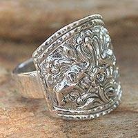 Sterling silver cocktail ring, 'Spring Elephants'