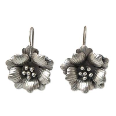 Silver flower earrings, 'Chiang Mai Rose' - Floral Silver Drop Earrings