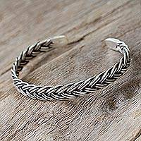Sterling silver cuff bracelet, 'Lanna Legend' - Sterling Silver Cuff Bracelet from Thailand