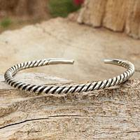 Men's sterling silver cuff bracelet, 'Thai Swirl' - Men's Artisan Crafted Sterling Silver Cuff Bracelet