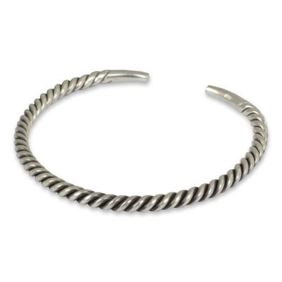 Men's sterling silver cuff bracelet, 'Thai Swirl' - Men's Artisan Crafted Sterling Silver Cuff Bracelet