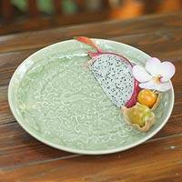 Celadon ceramic plate, 'Wild Deer' - Unique Thai Celadon Ceramic Plate