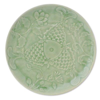 Celadon ceramic plate, 'Fish of Fortune' - Celadon ceramic plate