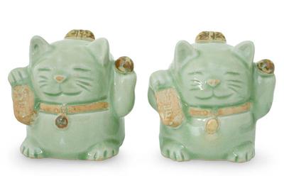 Handcrafted Celadon Ceramic Sculptures (Pair)