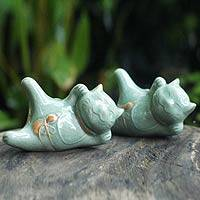 Celadon ceramic statuettes, 'Lucky Cats at Play' (pair) - Celadon Ceramic Sculptures (Pair)