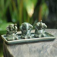 Celadon ceramic figurines, 'Elephant Lessons' (set of 3)