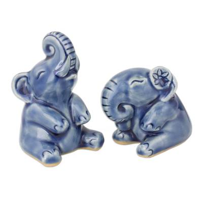 Celadon ceramic statuettes, 'Happy Blue Elephants' (pair) - Hand Crafted Celadon Ceramic Sculptures (Pair)