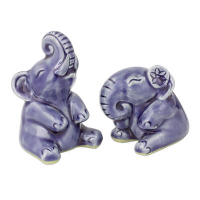 Hand Crafted Celadon Ceramic Sculptures (Pair)