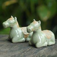 Celadon ceramic figurines, 'Kneeling Horses' (pair) - Celadon Ceramic Horse Figurines (Pair)