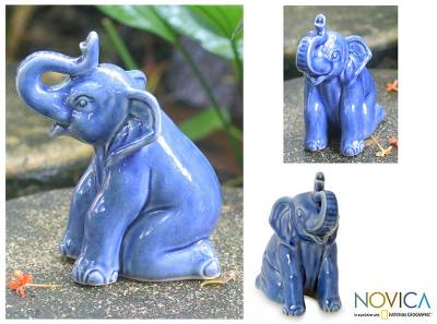 Celadon ceramic statuette, 'Blue Elephant Welcome' - Artisan Crafted Celadon Ceramic Sculpture