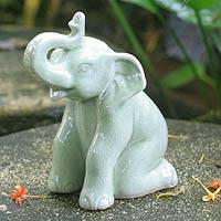 Celadon ceramic statuette, 'Green Elephant Welcome' - Celadon Ceramic Elephant Figurine