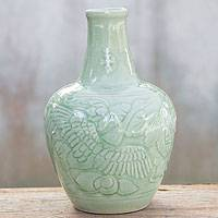 Celadon ceramic vase, 'Graceful Swan' - Celadon ceramic vase