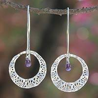 Amethyst dangle earrings, 'Lanna Moon' - Modern Sterling Silver and Amethyst Dangle Earrings
