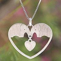 Sterling silver heart necklace, 'Elephants in Love' - Sterling Silver Heart Necklace