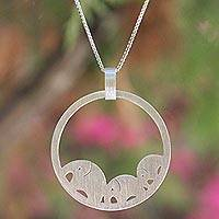 Sterling silver pendant necklace, 'Elephant Journeys' - Sterling Silver Elephant Circle Necklace from Thailand