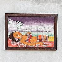 Batik art, 'Feminine Beauty' - Batik Cotton Wall Hanging