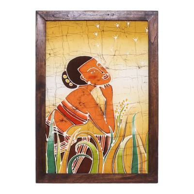 Batik art, 'Quiet Moment' - Batik Cotton Wall Hanging