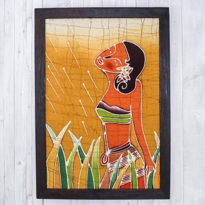 Batik art, 'A Walk in the Garden' - Hand Made Batik Cotton Wall Hanging
