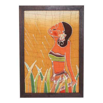 Batik art, 'A Walk in the Garden' - Hand Made Batik Cotton Wall Hanging