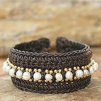 Pearl cuff bracelet, 'Thai Supreme' - Hand Made Pearl Cuff Bracelet