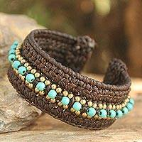 Calcite cuff bracelet, 'Thai Supreme' - Turquoise coloured Cuff Bracelet